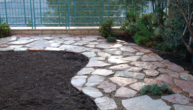 Stepping stones and pebbles path